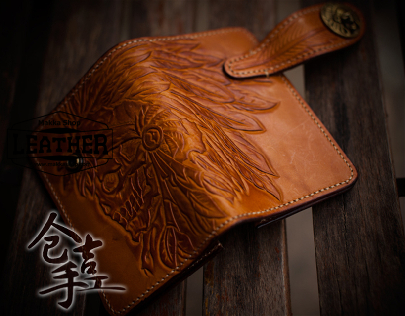 Hasp Handmade Carved Long Wallet Indian Head Skull