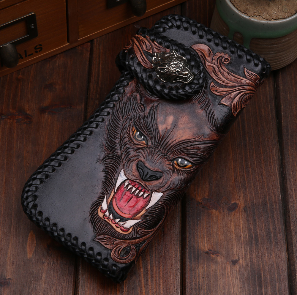 Handmade Leather Bifold Mens Wallet Carved Wolf Makkashop