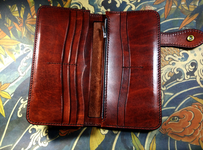 Leather Long Wallet Hand Tooled Wallet Mans Wallet