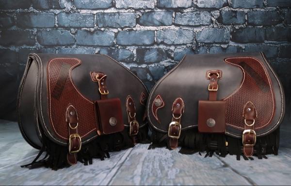 Custom Handmade Harley Leather Saddlebags 1 Pairs Makkashop