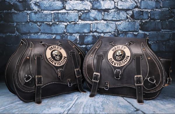 Custom Handmade Harley Leather Saddlebags Pairs Skull