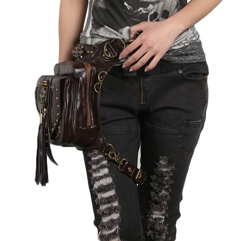 Leather Punk Gothic Steampunk Belt Bag Waist Makkashop