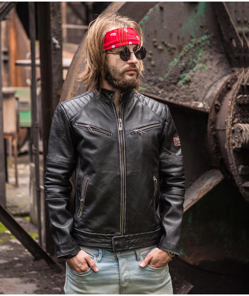 Motorcycle Leather Jacket Mens Motorcycle Coat Biker Style